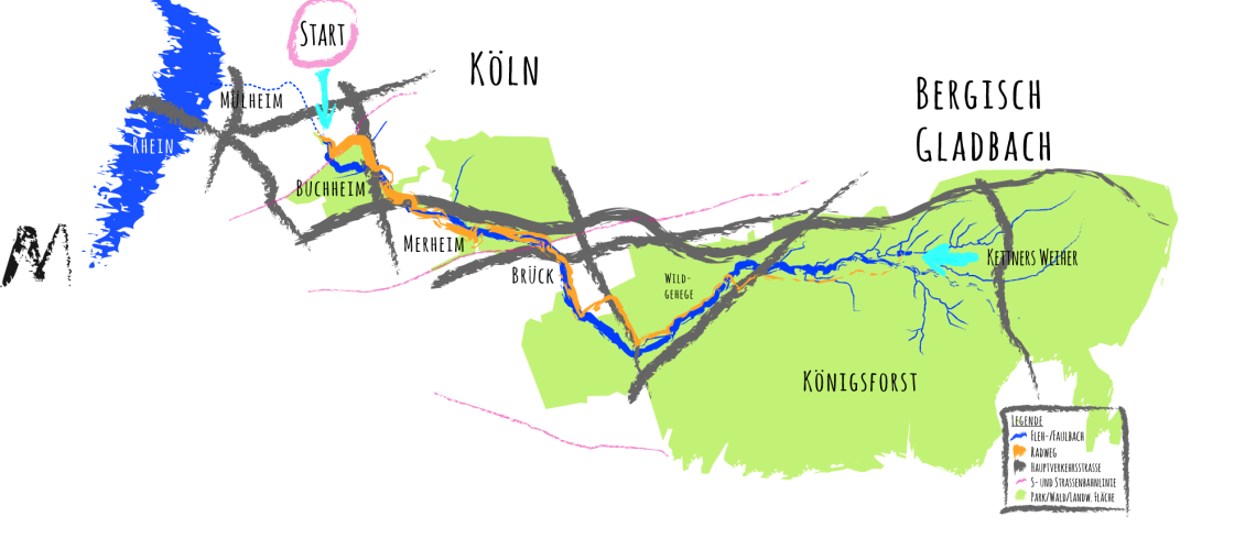 Grobe Übersichtskarte Flehbach-Tour: von Buchheim in den Königsforst