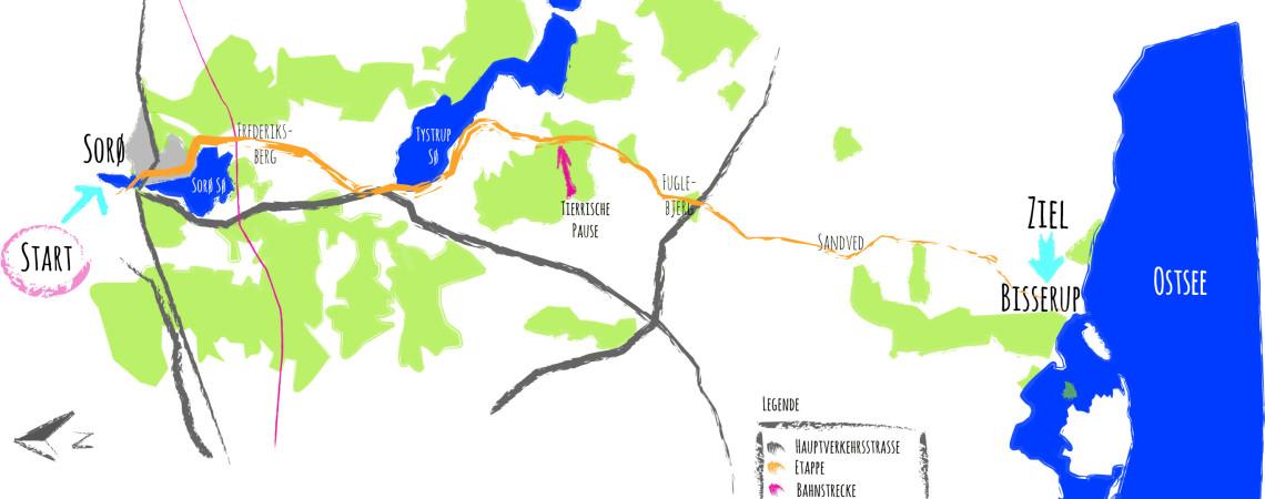 Grobe Übersichtskarte Etappe 1: Von Sorø nach Bisserup