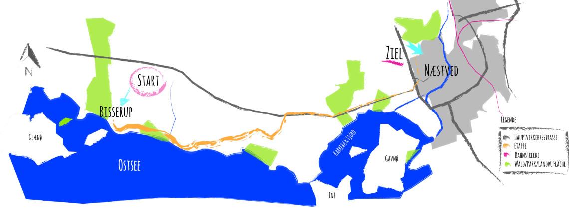 Grobe Übersichtskarte Etappe 2: Von Bisserup nach Næstved