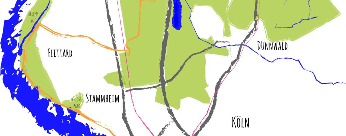 Grobe Übersichtskarte über die 6. Etappe des Kölnpfads von Köln-Mülheim nach Leverkusen-Schlebusch